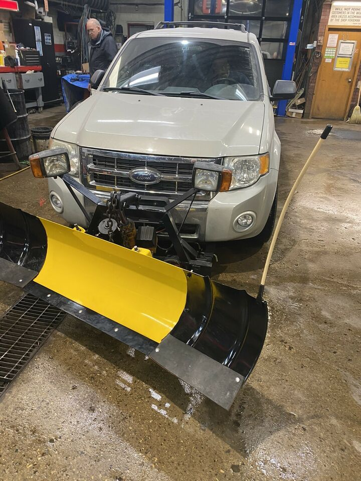 Parking lot snow plow with remote start too